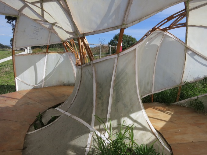 Bird-watching shelter, interior, Open City, Ritoque, Chile