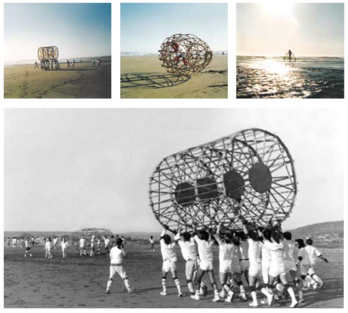 """School of Valparaíso, Edros y Oides, Ritoque Beach, 1979. Scanned from Manuel Casanueva's """"Libro de juegos."""" Valparaíso, Chile: e[ad] Ediciones, 2009."""