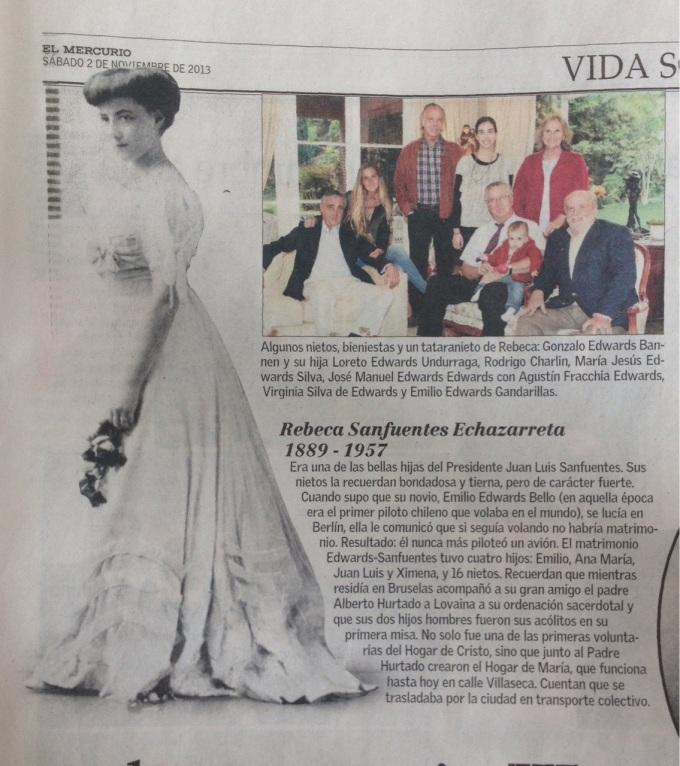 Rebecca Sanfuentes Echazarreta Profile, El Mercurio, November 2, 2013