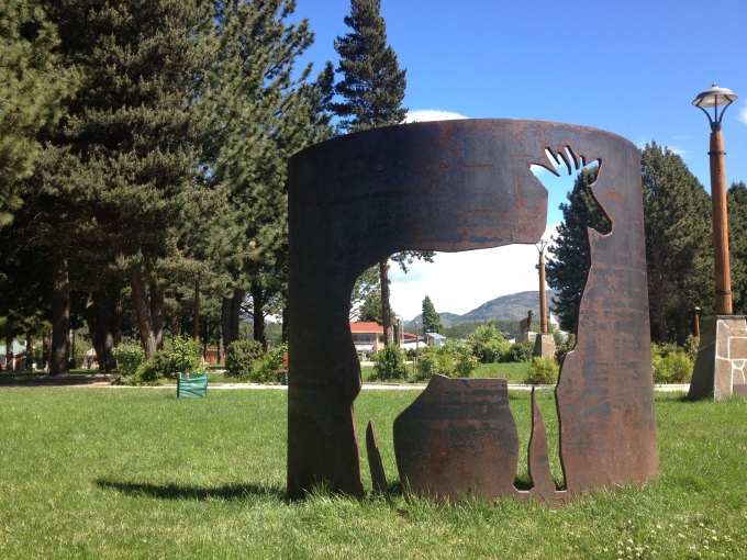 Sculpture in the plaza, Cochrane, Chile