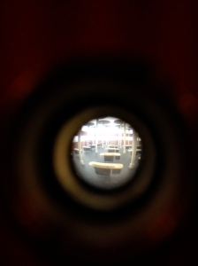 Sebastián Gordín, Johnson and Son Administrative Building, 1996 (Construction inside a box, seen through a peephole; reconstruction)