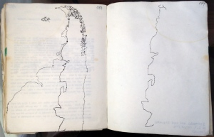 Amereida drawing, pages 196-187