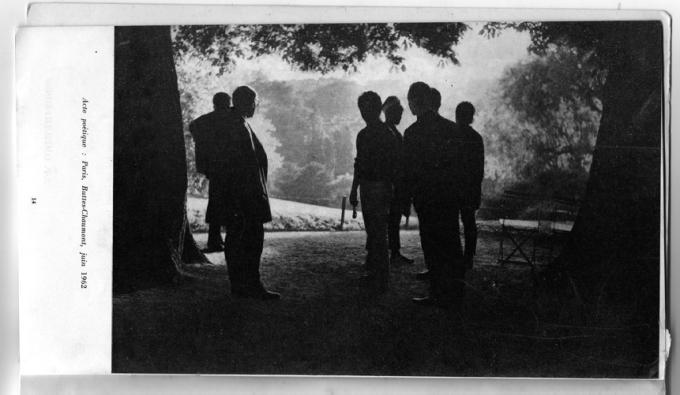 Poetic act: Paris, Parc des Buttes-Chaumont, June 1962. Printed in Ailleurs 1 (1963), 14.