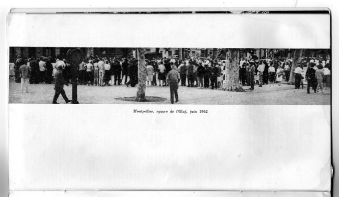 Montpellier, square de l'Oeuf, June 1962. Printed in Ailleurs 1 (1963), 22.